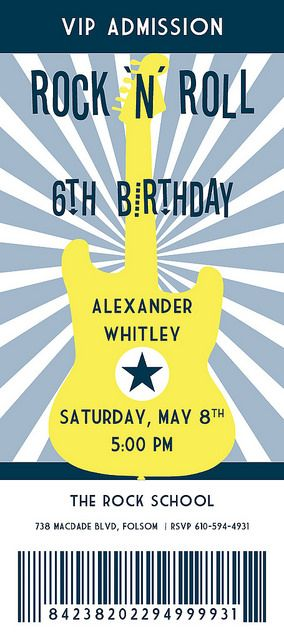 Rock 'N' Roll Birthday Party-Concert Ticket-Invitation  Guitar in the style of Beatles Mania or British Invasion