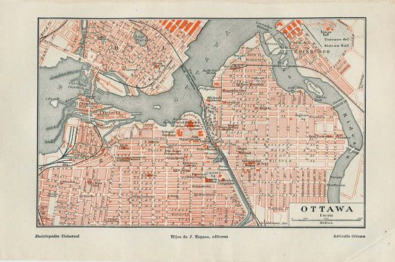 1920s ottawa map vintage street plan city map canada retro home decor