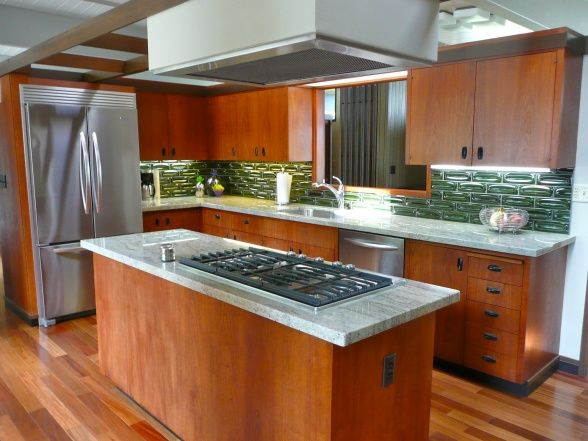 56 best images about mid century modern kitchen on pinterest for Modern teak kitchen cabinets