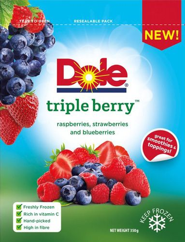Fresh- frozen finest quality of handpicked Dole Triple Berry, rich in Vitamin C offered for a sale price of £1 at Morrisons.