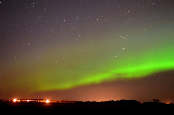 Northern aurora borealis with a captured meteor!