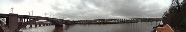 Panorama of the Three Bridges in Berwick upon Tweed, UK.