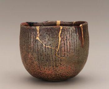 Tamamizu Ichigen, (1662?-1722, Edo period): Raku-type earthenware with red slip under clear glaze; gold lacquer repairs