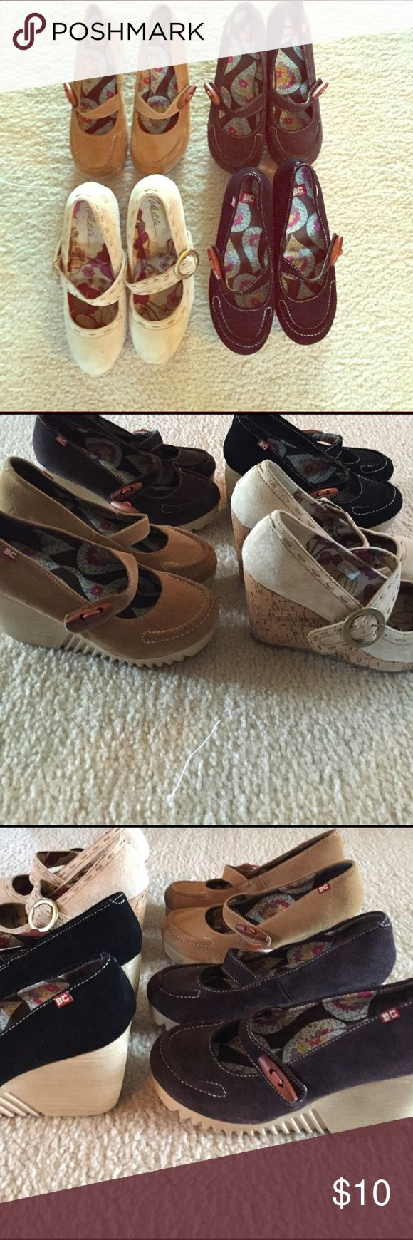 BC Mary Jane Shoes There are brown,tan,beige & black wedged Mary Janes Great Condition!👡👞👜If you want to buy them all $40.00 Just one pair 10.00 Shoes Wedges