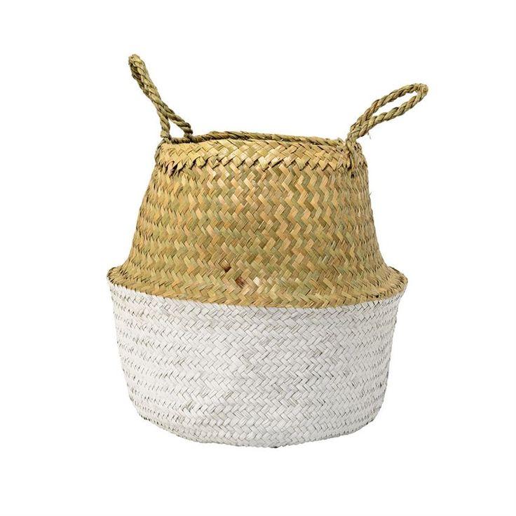 Seagrass Basket W/ Handles In Natural U0026 White