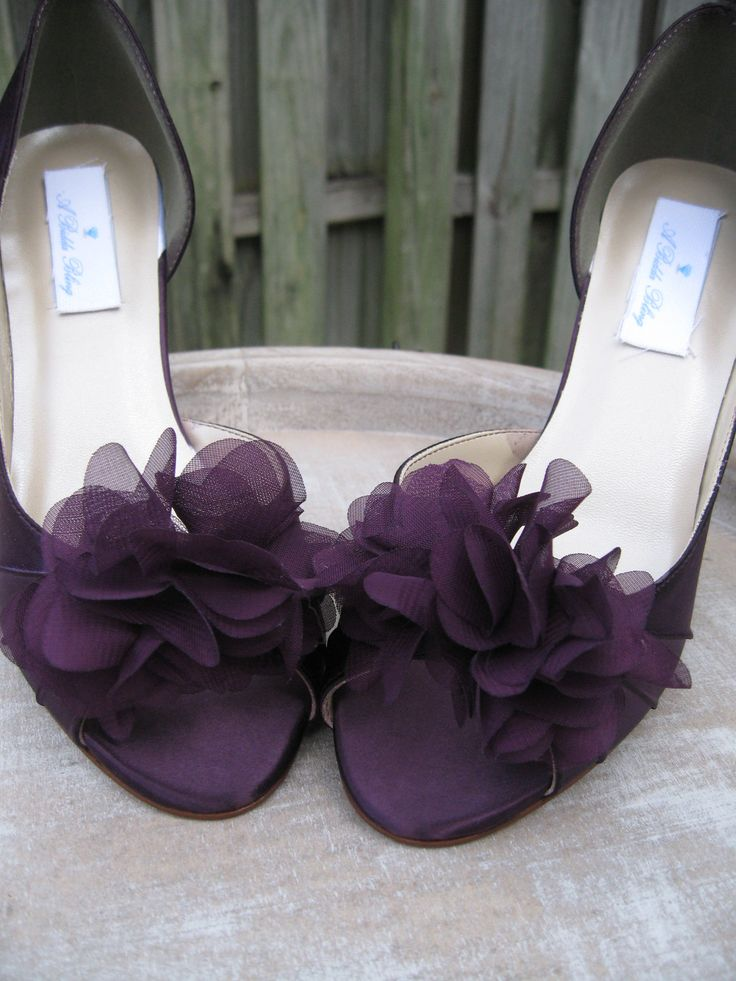 Purple Eggplant Bridal Shoes with Organza Flower Design - Over 100 Color Shoe Choices to Pick From