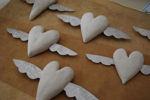 Clay hearts with wings... cute...