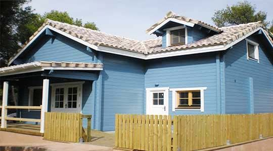 The blue walled timber building, it's lovely!