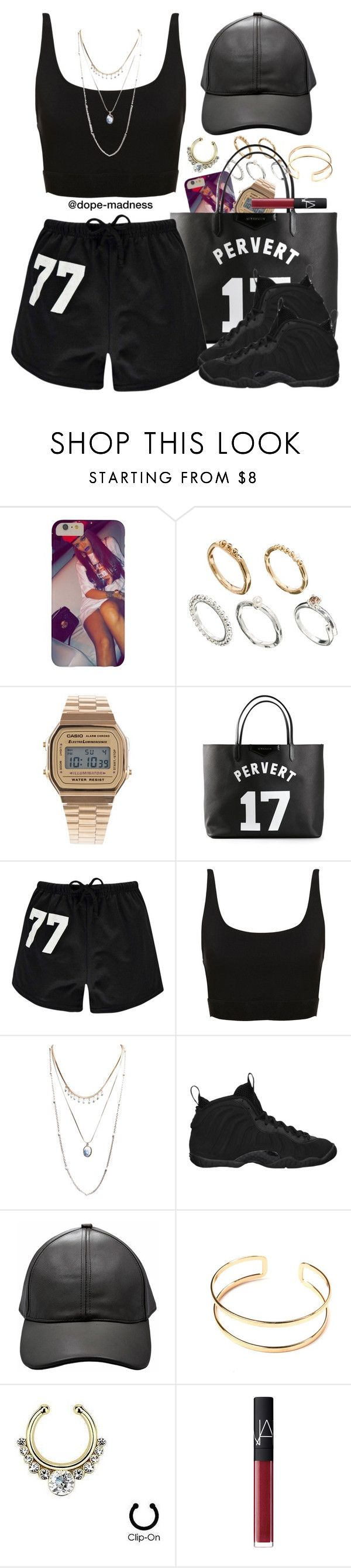 """""""Fetty Wap   Again"""" by dope-madness ❤ liked on Polyvore featuring ASOS, Casio, Givenchy, Boohoo, Wet Seal, NIKE and NARS Cosmetics"""
