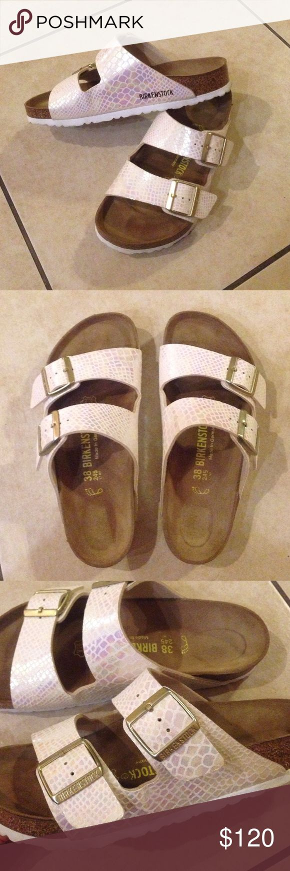 Birkenstock Sandals Great condition, authentic birkenstock scale sandals. Only worn outside once, before admitting they are just too small for me :( Birkenstock Shoes Sandals