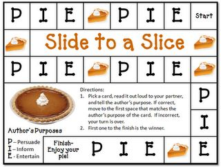Author's purpose game with Thanksgiving passages freebie