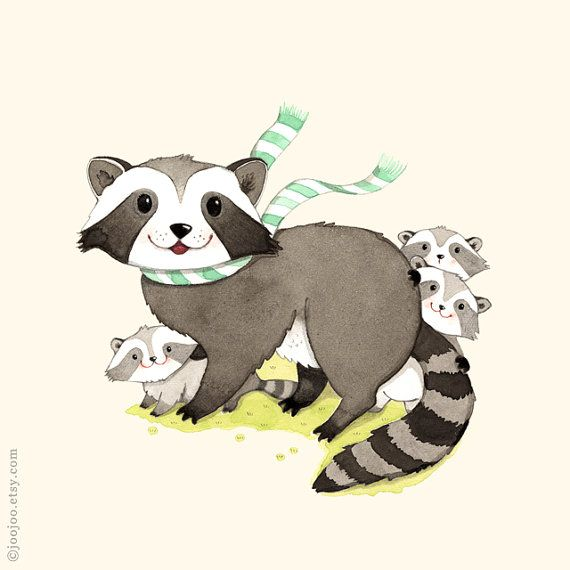 Woodland nursery, watercolor painting, Raccoon