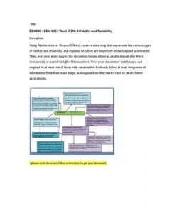 Using Mindmeister or Microsoft Word, create a mind map that represents the various types of validity and reliability, and explains why they are important in learning and assessment. Then, post your mind map to the discussion… (More)