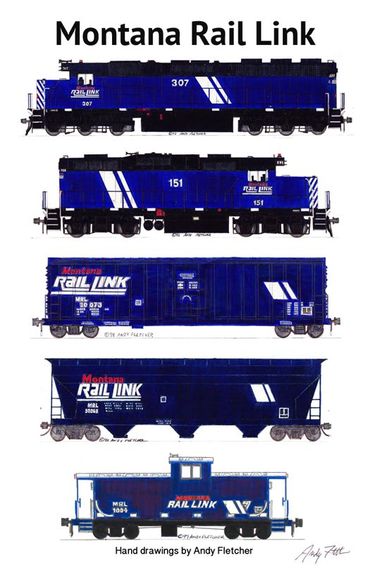 """An 11""""x17"""" poster with some of Andy Fletcher's hand drawings of Montana Rail Link locomotives and rolling stock."""