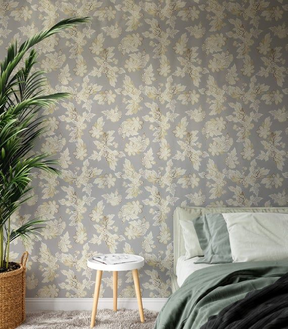 Gray And Gold Peel And Stick Wallpaper Self Adhesive Wallpaper Etsy Peel And Stick Wallpaper Grey Accent Wall Self Adhesive Wallpaper
