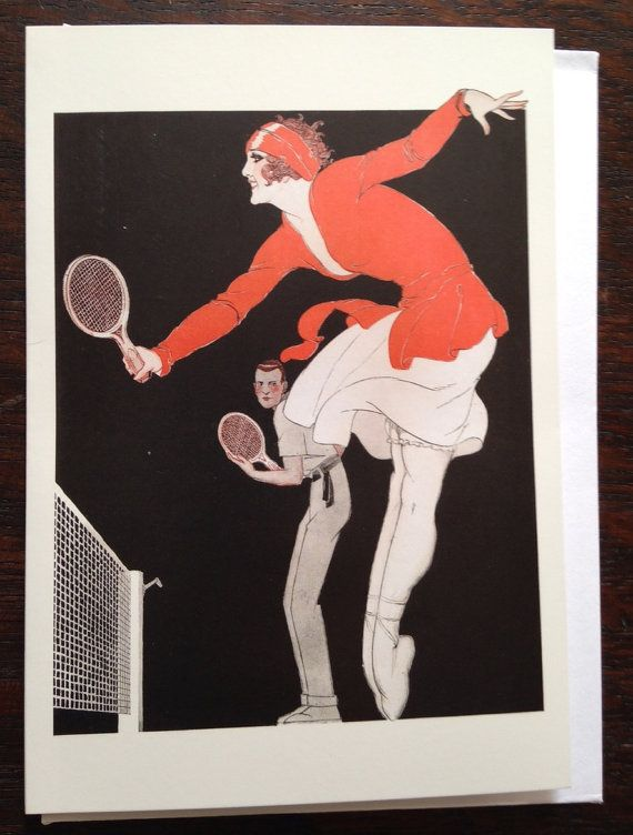 Easy Winner' Graceful Art Deco Greeting Card with fashion Illustration of international tennis star, Suzanne Lenglen.