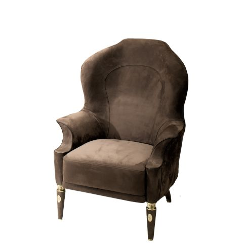 Alice Luxury Italian Armchair Upholstered In Brown Fabric With An  Embroidered Back.