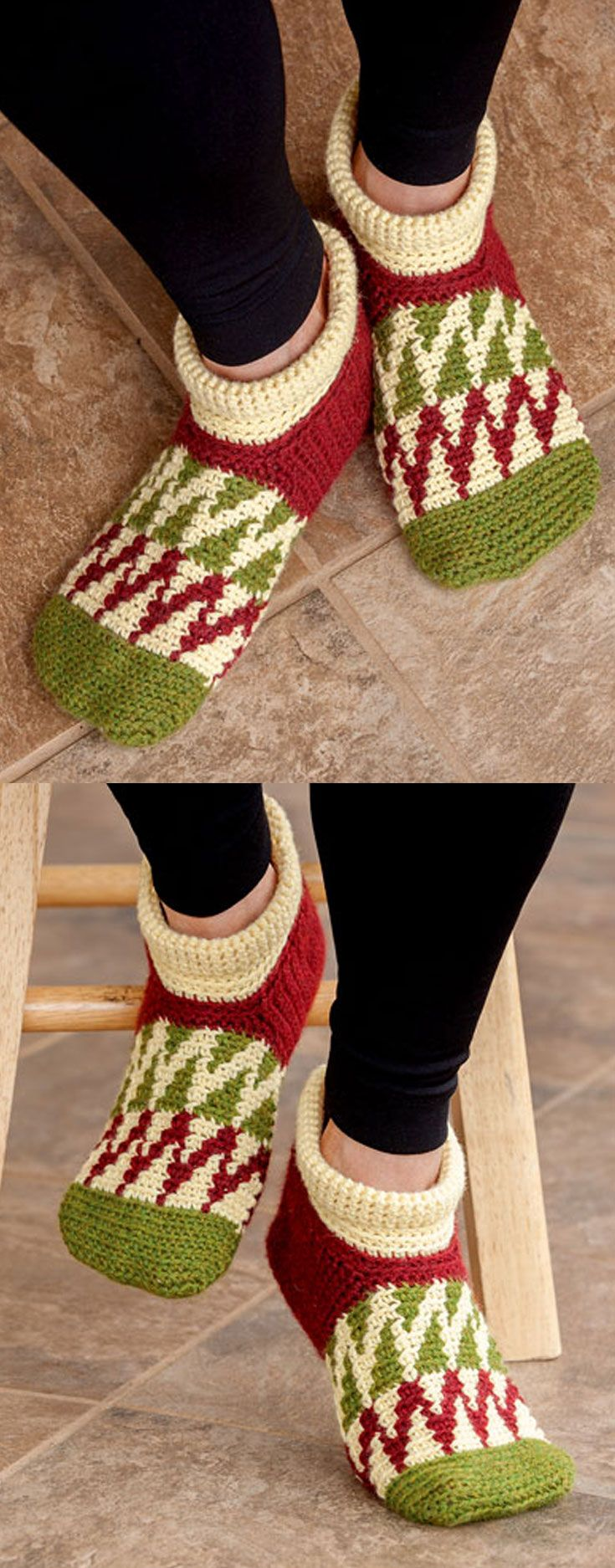 Peaked Waves Slippers in 3 sizes (small, medium, large), in Learn to Tapestry Crochet book, that includes basic steps on how to carry and wrap yarn, change colors, step-by-step photos, written instructions and charts. A great learn-to book! Also included are 6 projects perfect for a beginner.