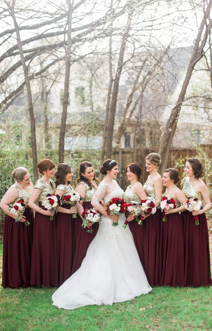 Long Dresses Wine Colored Bridesmaid