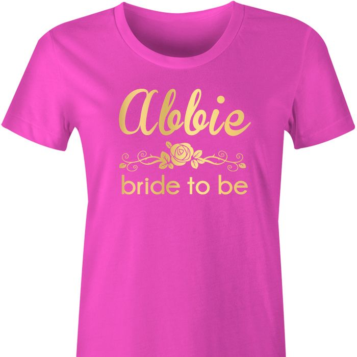 Rose Bridal Party Personalised T Shirt A gorgeous gift to give to each of your girls to wear during the pre-wedding preparations and celebrations including the Hens Party, the Bridal Shower, Rehear...