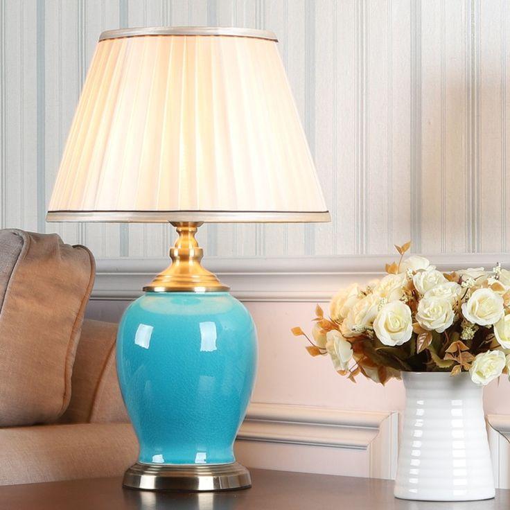 Anmutige Tischleuchte mit blauem Keramikfuß für Wohnzimmer   Lampentisch, Lampe, Türkiser tisch