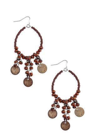 Wooden Hoop Statement Earrings