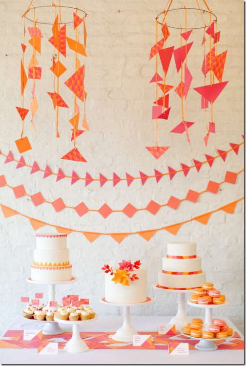 Lovely pink and orange cake table