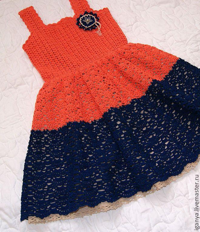 """Купить Сарафан """"Оранжевый и синий"""" - орнамент, оранжевый, синий, сарафан…"""