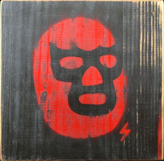 Mexican Lucha Libre Mask Graffiti Street Art Painting Wrestler Luchador Stencil