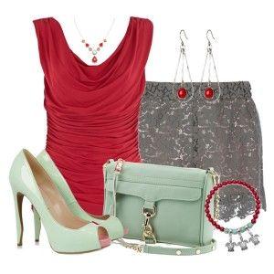 Туфли мятного цвета, серые ажурные шорты, красная туника, сумка мятного цвета