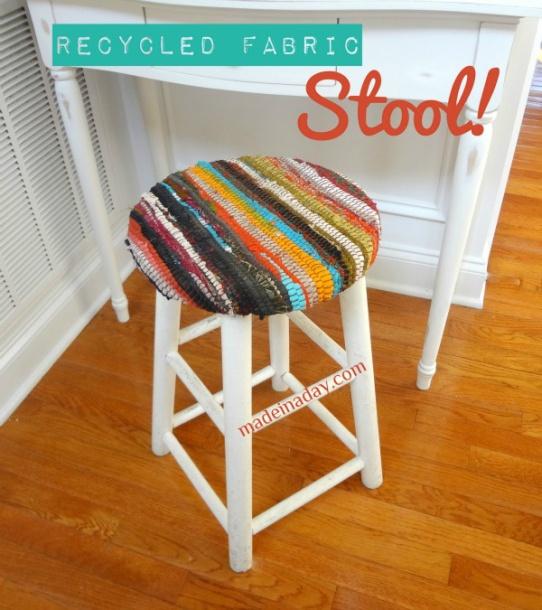 Rag Rug Stool: Recycled Fabric Rug Stool