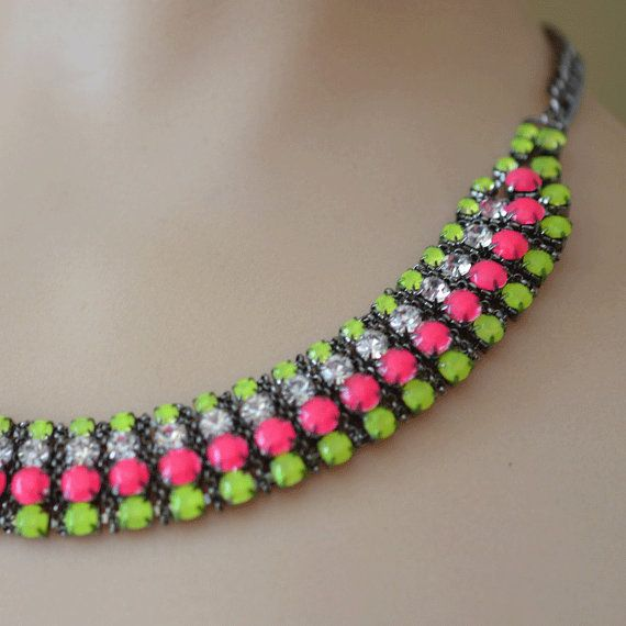 neon jewelry painted rhinestone necklace Candy by ColorblockShop, $44.00