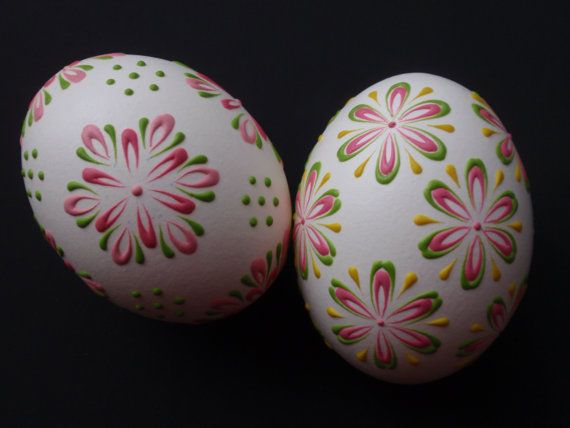 2 Decorated Chicken Eggs Polish Easter Eggs