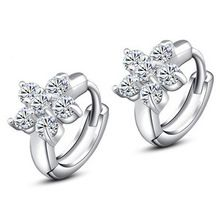 DALI Wholesale Fashion Jewelry 925 Sterling Silver Crystal Flower Shape Stud Earrings WHE45(China (Mainland))