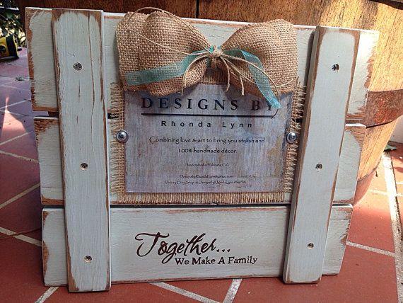 Together...We Make A Family 4x6 Sage Blue Custom Pallet Picture Frame on Etsy, $25.00