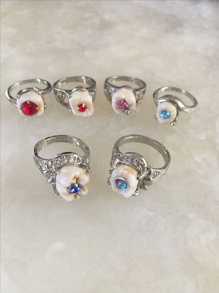 Crystal Cavity Human Tooth Rings For Sale At