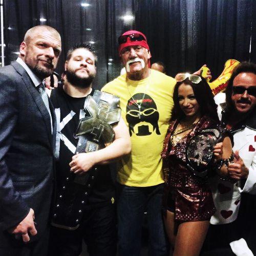 Triple H, Kevin Owens, Hulk Hogan, Sasha Banks and Jimmy Hart