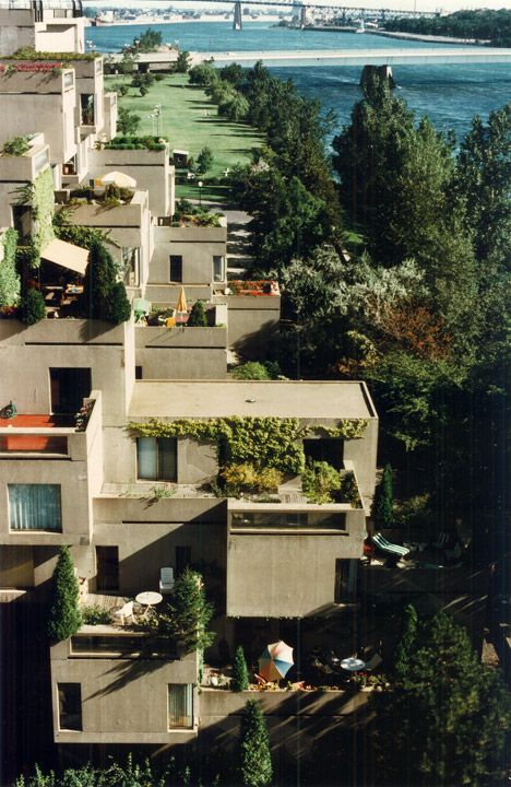 Habitat 67, the experimental modular housing presented by Moshe Safdie at the…