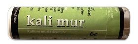 Kali Mur - Owen Homoeopathics. Kali mur is a tissue salt that may provide relief for symptoms where there is thick, white nasal discharges and catarrh, earache, stuffy head colds, sore throats and mouth ulcers