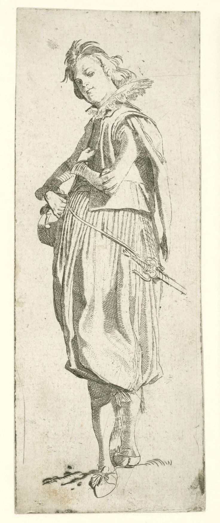 Willem Pietersz. Buytewech | Italiaanse edelman, Willem Pietersz. Buytewech, 1615 | Italiaanse edelman in kostuum met kanten kraag, wambuis met siermouwen en wijde pofbroek tot aan de knieën, kousebanden met strikken. Proefdruk voor de eerste staat,  vóór de vermelding van de titel. No.  4 uit een serie van 7 kostuumprenten.