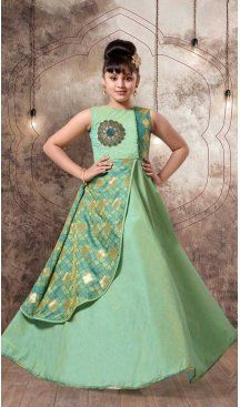 Green Color with Mashroom Silk Fabric,  Exclusive Designer Kids Gowns | FHK13525688