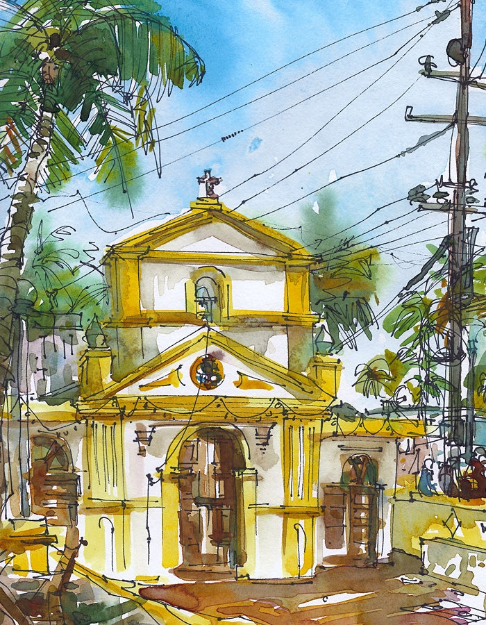 Sunny yellow and white chapel among the palms. A tropical watercolor sketch.