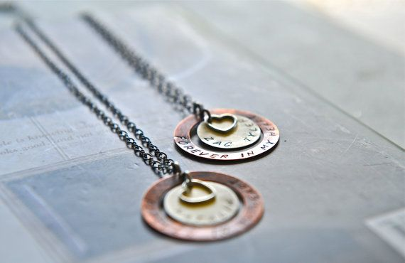 Mother Necklace Hand Stamped Jewelry Heart by SevenBlueberries, $55.00