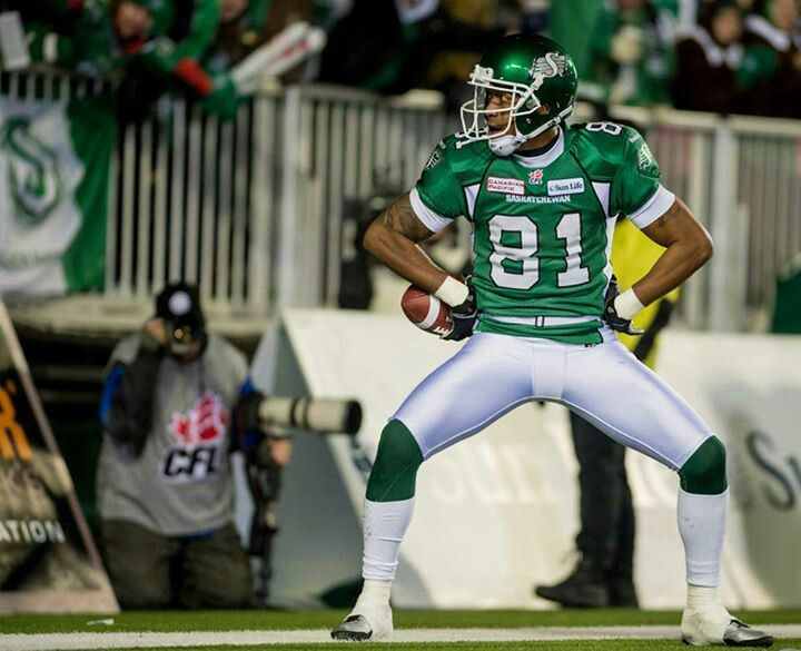 Geroy Simon celebrates a touchdown in 2013 Grey cup
