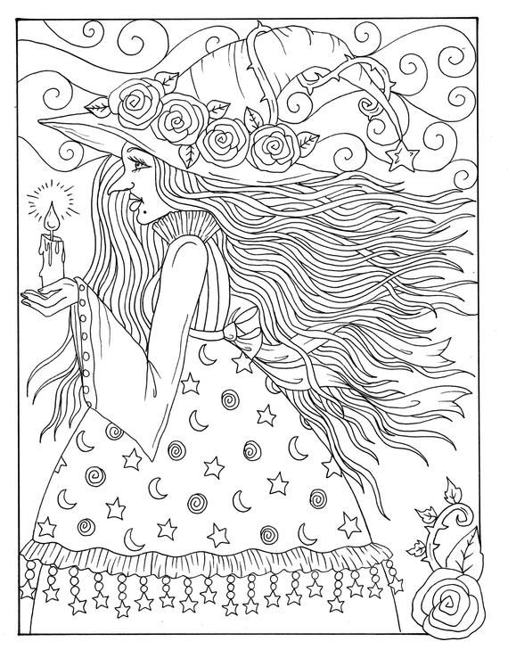 5 Pages Magical Witches Halloween Magic Coloring Pages Digital Etsy Witch Coloring Pages Halloween Coloring Pages Printable Halloween Coloring Book