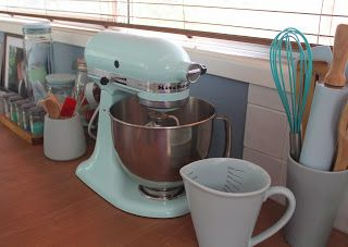 My Baking Corner With Ice Blue Kitchenaid Artisan Stand Mixer And Jars Of  Cupcake Wrappers Etc