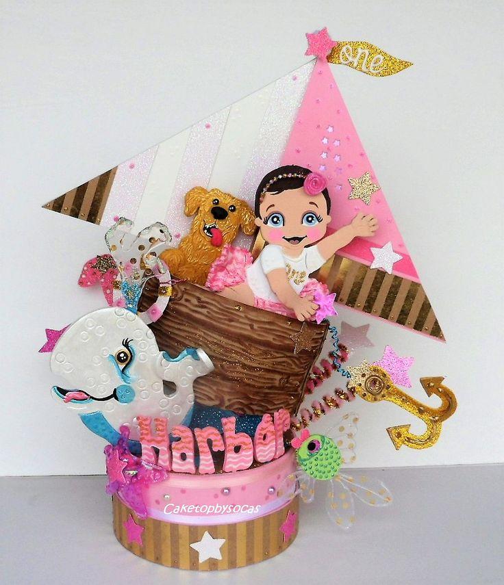 Nautical party centerpiece Sailor Birthday cake topper