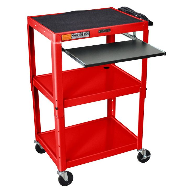 Turing Adjustable Height Computer Cart Red