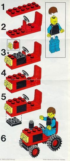 How to build a LEGO tractor / LEGO City Tractor [Lego 6608] plans --- How to build with classic LEGO sets.