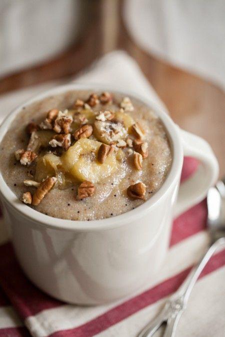 Banana-Pecan Amaranth Porridge, perfect for winter & what ails you. Amaranth, a grain known to have healing properties & banana-pecan, just plain good.